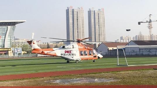 江苏人保财险救援直升机整装待发。 陈远远/供图